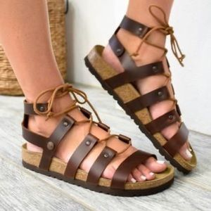 Birkenstock Papillio Brown Lace up Sandals